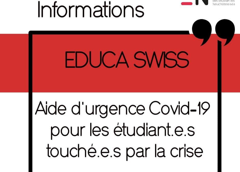 Aide d'urgence Covid-19 – EDUCA SWISS